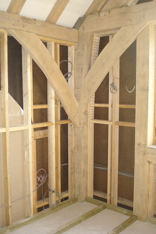 Sandblasting oak timber frame