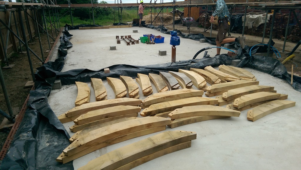 Oak timber frame assemble