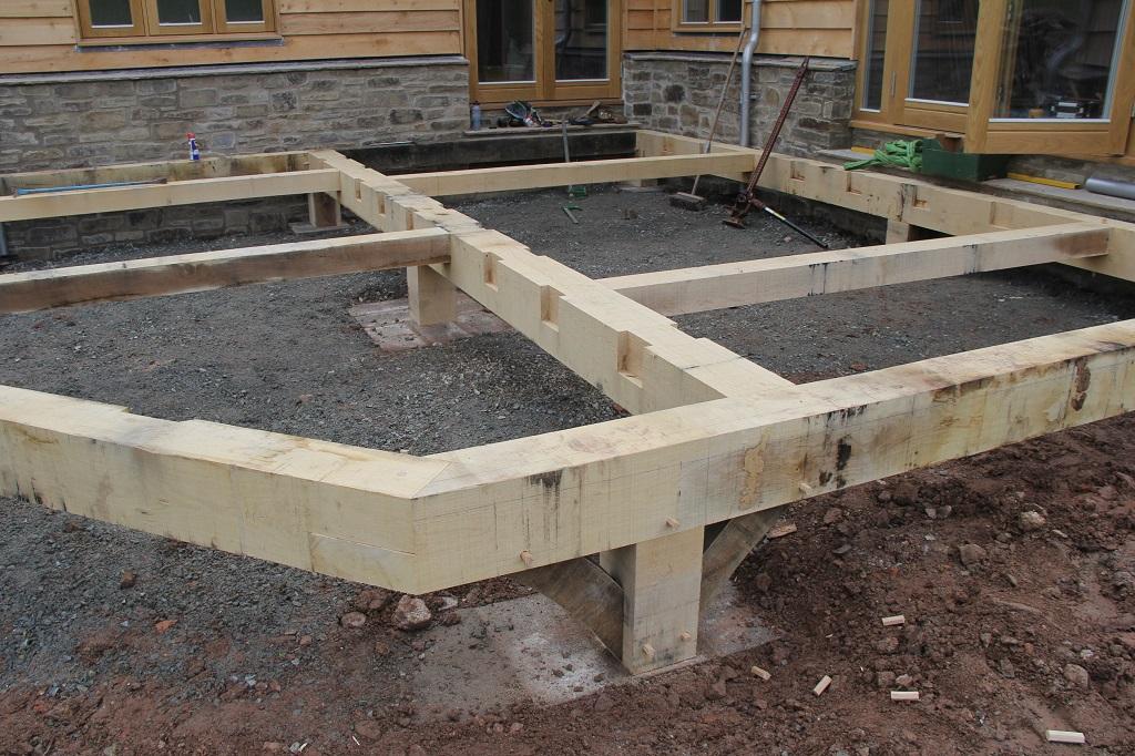 Oak frame decking