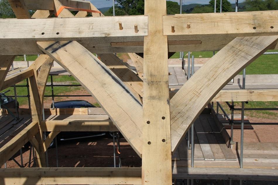 Oak purlins timber frame