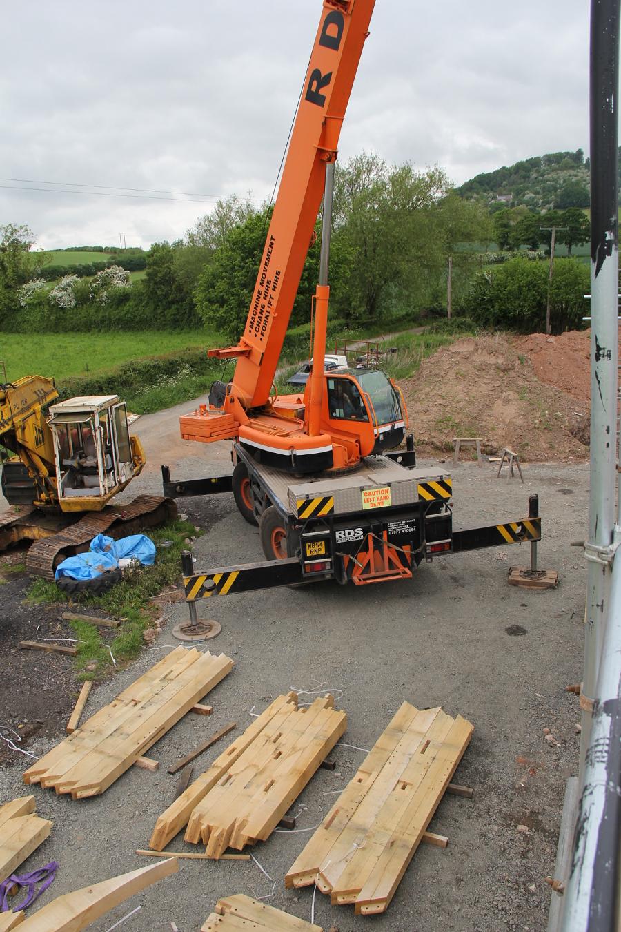 Timber frame raising with crane