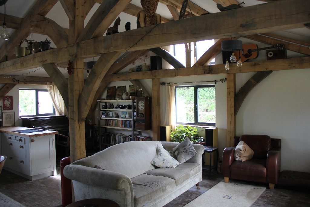 open plan living timber frame house
