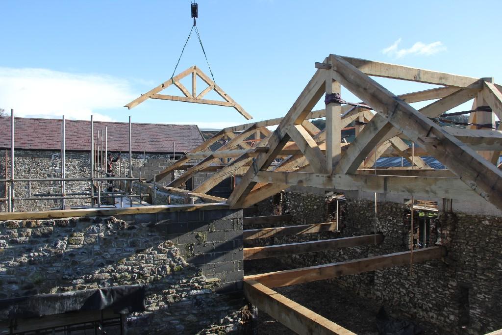 Oak timber frame barn building house